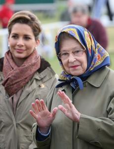 Haya insieme alla regina Elisabetta durante il Windsor Horse Show