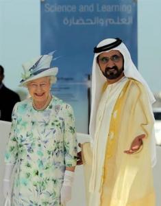 Lo sceicco Al Maktoum con la regina Elisabetta