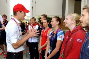 Prince+William+talks+with+Great+Britain+swimmer+Rebecca+Adlington