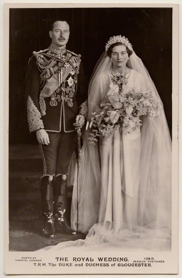 NPG x197272; 'The Royal Wedding' (Prince Henry, Duke of Gloucester; Princess Alice, Duchess of Gloucester) by Vandyk, published by  J. Beagles & Co